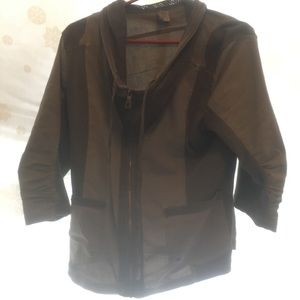 Xcvi 3/4 ranched sleeve zipped light cotton jacket